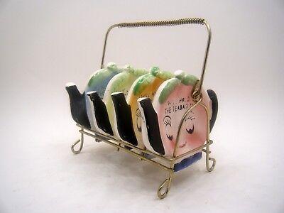 Vintage 1950's Set of 4 Teapot Tea Bag Holders with Metal Rack