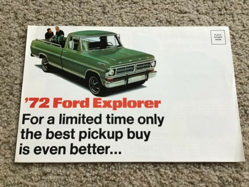 1972  Ford Truck explorer pickup Bronco and ranchero factory mailer.