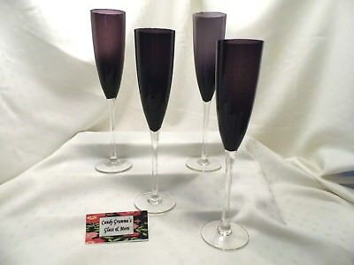Amethyst Dark Purple Champagne Wine Flute Set of Four    - Purple Champagne Glasses