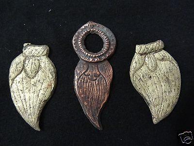 ANTIQUE MONGOLIAN BUDDHIST GILDED COPPER VARIOUS   EARRINGS