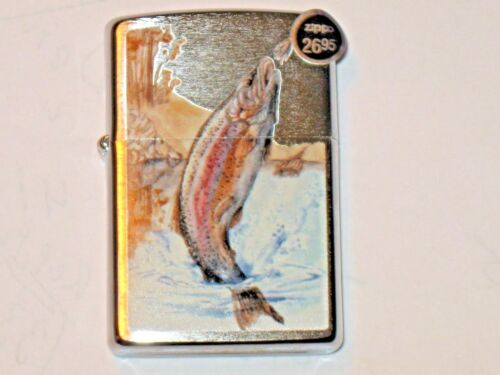 New ZIPPO USA Windproof Flame Click LIGHTER 78267 Jumping Trout Fish Fly Stream