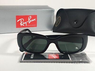 Ray-Ban Highstreet Sunglasses Flat Oval Black Gloss Frame Green Lens RB4122