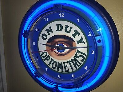 Optometrist Eye Doctor Dr. Office Advertising Blue Neon Wall Clock Sign