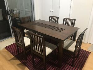 Full timber dining table and chairs