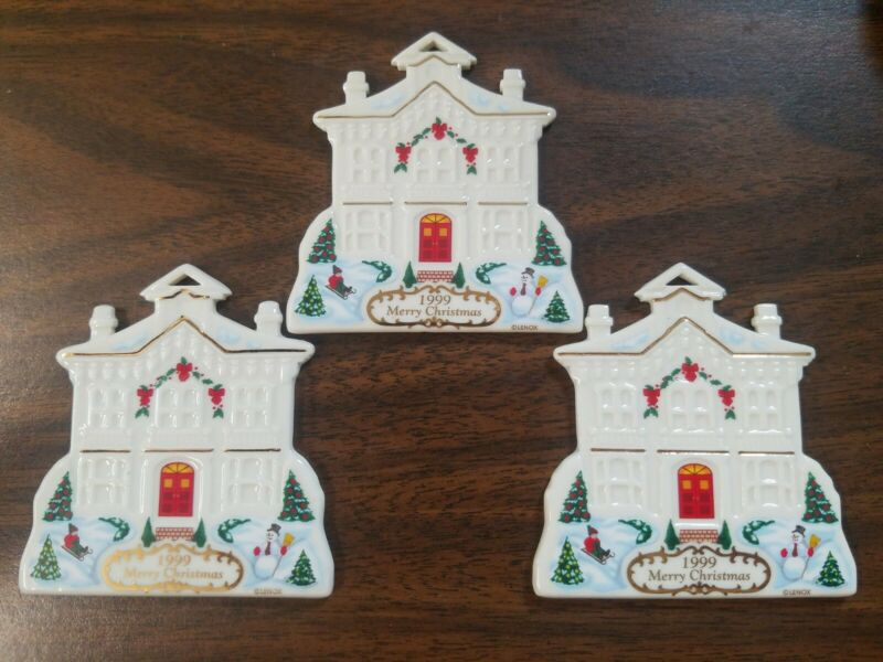 """3 Lenox 1999 Annual """"From Our Home To Your Home""""  Christmas House Ornament set/3"""