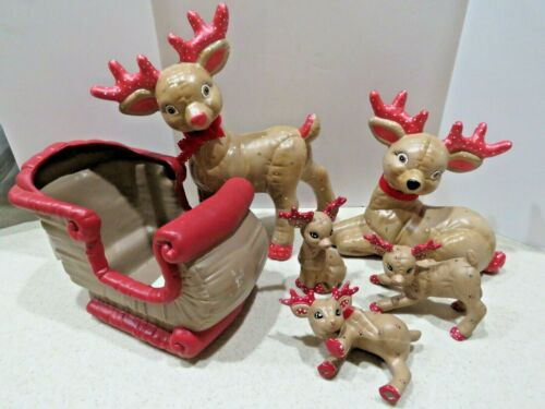 6 Piece Vintage Ceramic Kimple Mold Christmas Reindeer Hand Painted Lot  A4831