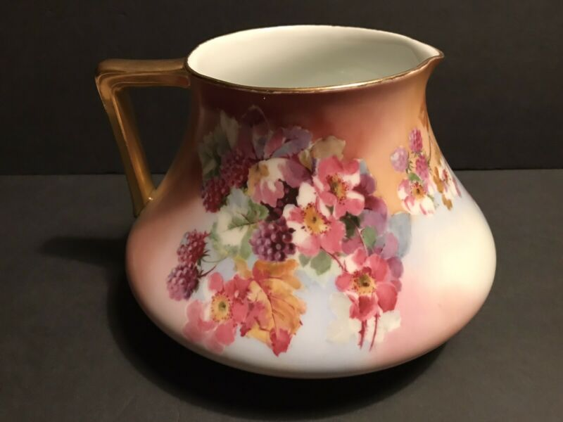 Hand Painted Bavaria Cider Pitcher Flowers,Berry and Leaves Gold Trim 9x6""
