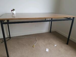 Computer desk - wood table top with metal frame