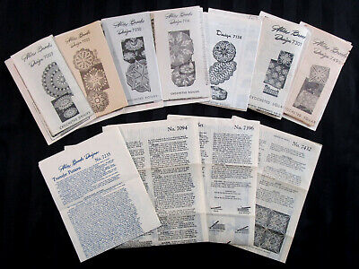 Lot of 11 Vintage Uncut, Factory Folded Alice Brooks Crochet + Transfer Patterns