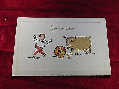 1913 HALLOWEEN POSTCARD GIBSON ART COMPANY PUBLISHING dated w/ stamp & - Publisher Halloween Party