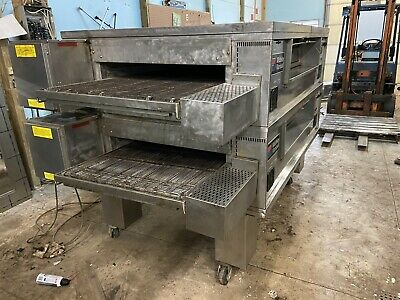 Middleby Marshall Ps570 Double-stack Conveyor Pizza Oven W Hood And Exhaust Fan