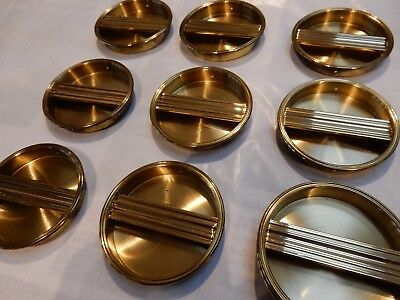Shoji Screens or Sliding Door Handles 1950s era Brass plated vintage set of 12
