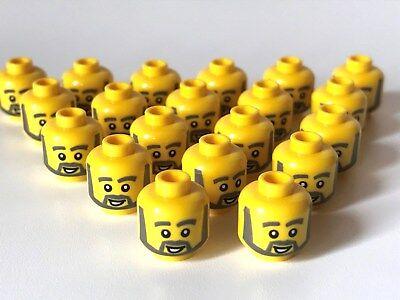 LEGO ®  20 x Kopf, männlich mit grauem Vollbart und geöffnetem Mund (K60) ()