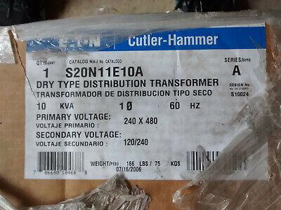 Eaton S20n11e10a Dry Type Distribution Transformer 10 Kva Primary 240x480v 1 Ph