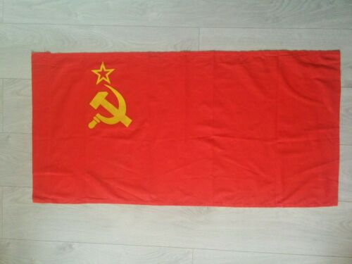 USSR Vintage Original Soviet Republic Flag Sickle & Hammer Red Banner 55*110cm