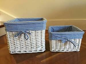 2 x white wicker baskets with blue fabric inserts Greenwich Lane Cove Area Preview