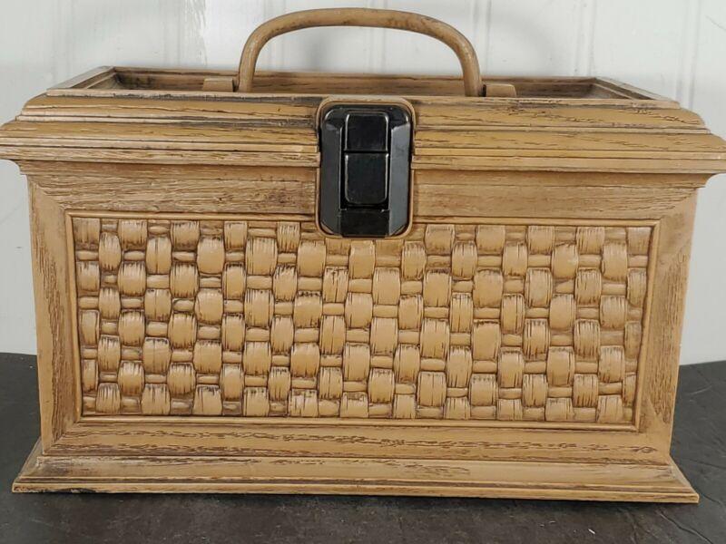 Vintage Lerner Brown Woven Basket Design Plastic Sewing Box
