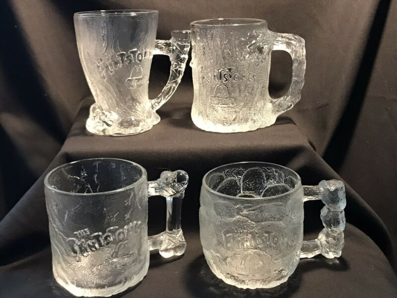 Complete Set of 4 1993 McDonalds Flintstones RocDonalds Clear Glass Coffee Mugs