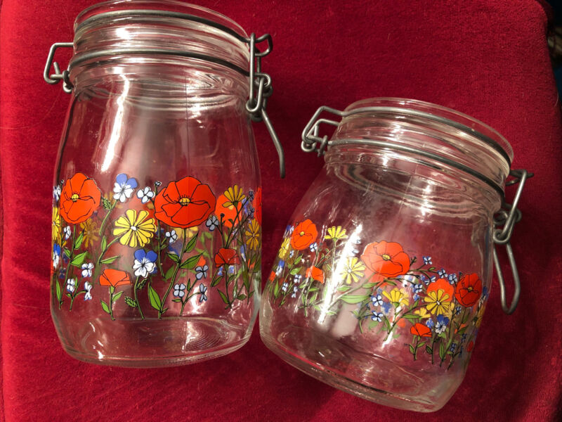 2 Vintage Glass Wire Jar Canisters Poppies ARC France 1L & 3/4L