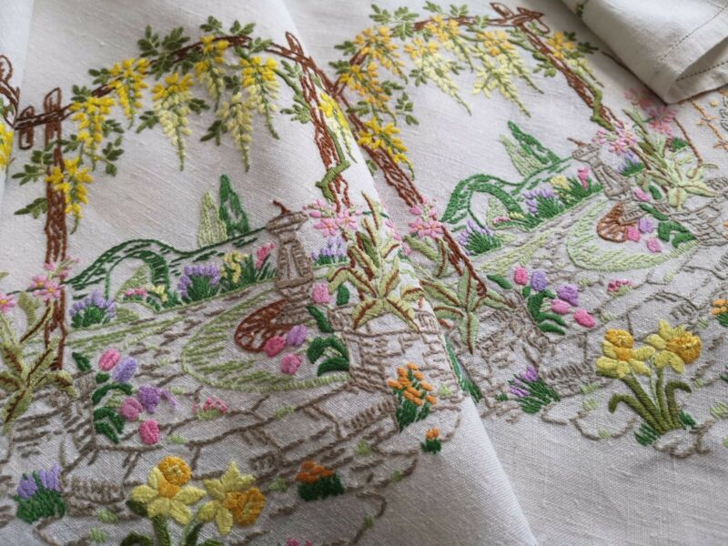 Vintage hand embroidered Irish linen tablecloth -  English Country house gardens