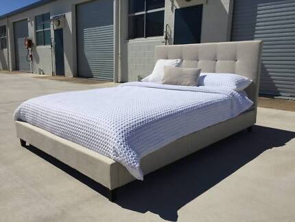 NEW Fabric bed frame CLEARANCE FOUR ONLY King size Natural Stone Moffat Beach Caloundra Area Preview