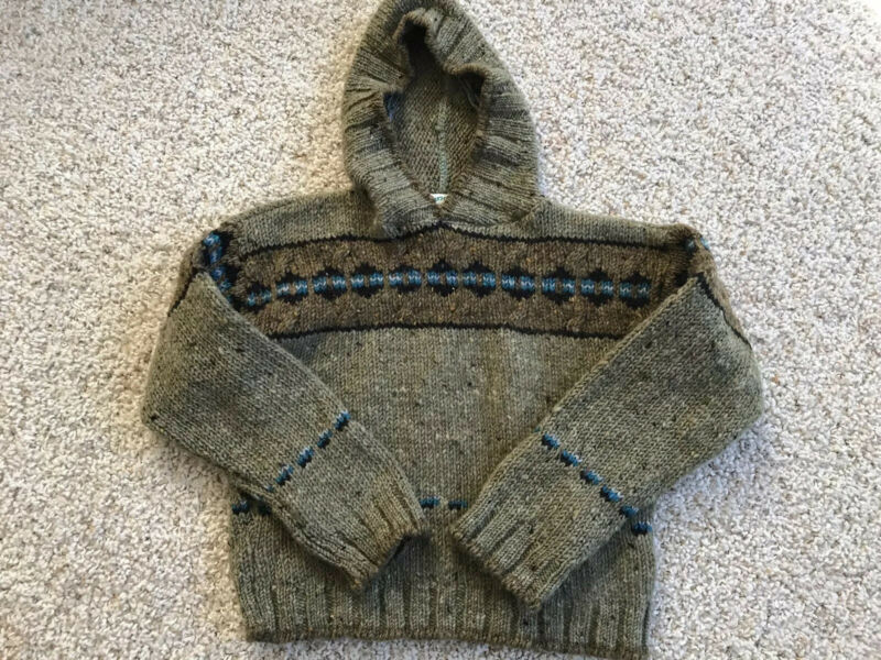 Aran Crafts Kids Wool Sweater 8-10 YRS Tribal Aztec Design