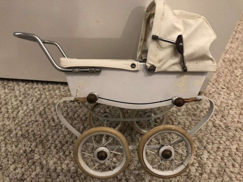 Vintage Baby Doll Carriage - Pram. RED. Made In France With Repro Bisque Baby