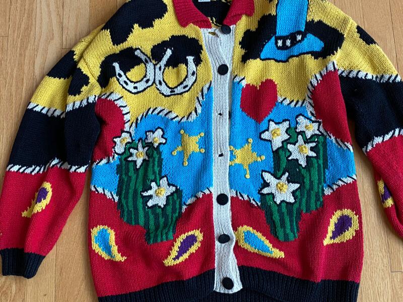 RAPHELS Hand Knit Vintage Cardigan -Western Cowboy Theme Design