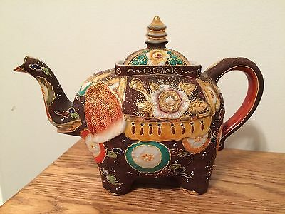 Vintage Hand Painted Japan Satsuma Moriage Elephant Teapot
