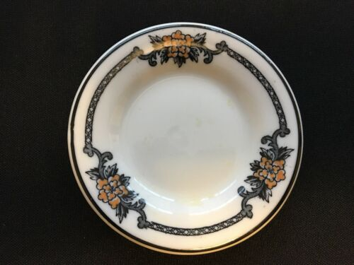 Butter Pat - Floral Pattern w/ Black Pin Stripe - Unknown Maker