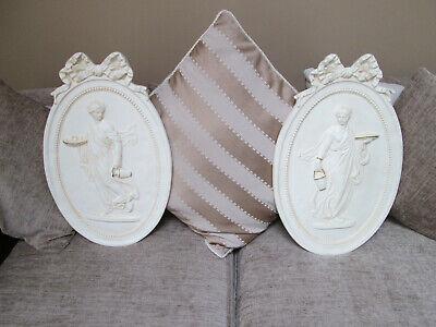 Pair of Vintage Wall Plaques Greco-Roman   Vintage Roman Goddess Decor  Greek