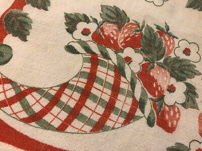 Vtg 50's Canon Kitchen Dish Towel Red Fruit STRAWBERRIES