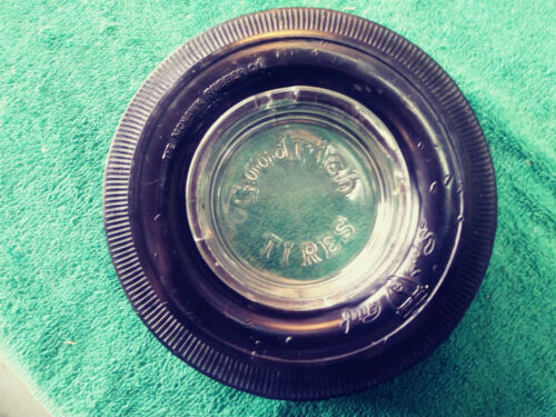 GOODRICH TIRES  Vintage Glass Ashtray With a MOHAWK Tire - both are Excellent