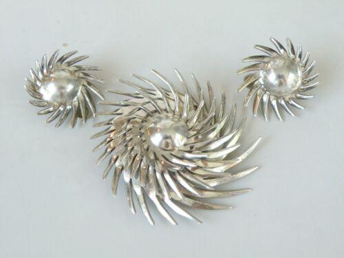 Vintage Modernist Handmade Spikes Starburst Sterling Silver Brooch Earrings Set
