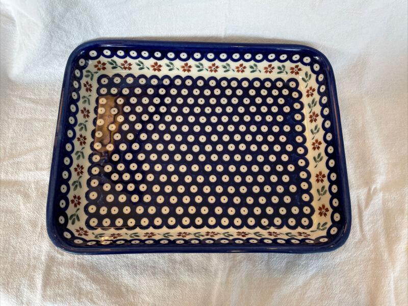 Polish Pottery BOLESLAWIEC Blue Ceramic Rectangle Platter Baking Dish - Perfect!