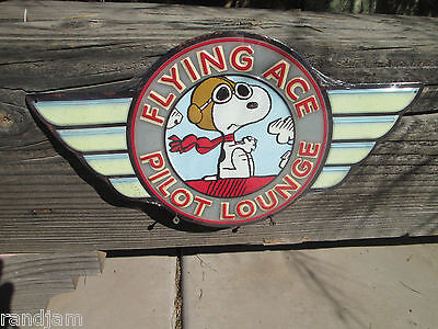 Flying Ace Pilot - FLYING ACE PILOT LOUNGE SNOOPY Aviation Metal Sign ALPHA BRAVO Hanger Man Cave
