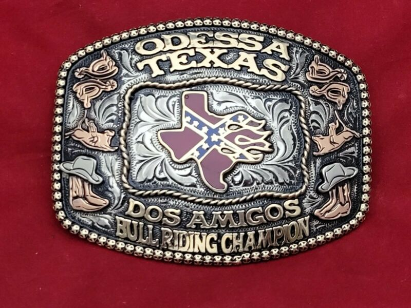 BULL RIDING CHAMPION RODEO TROPHY BELT BUCKLE☆ODESSA TEXAS DOS AMIGOS VINTAGE☆07