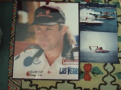 Hydroplane Boat Wellness Plan Lot of 3 Photos Driver Mark Evans 16x20 Plexiglass