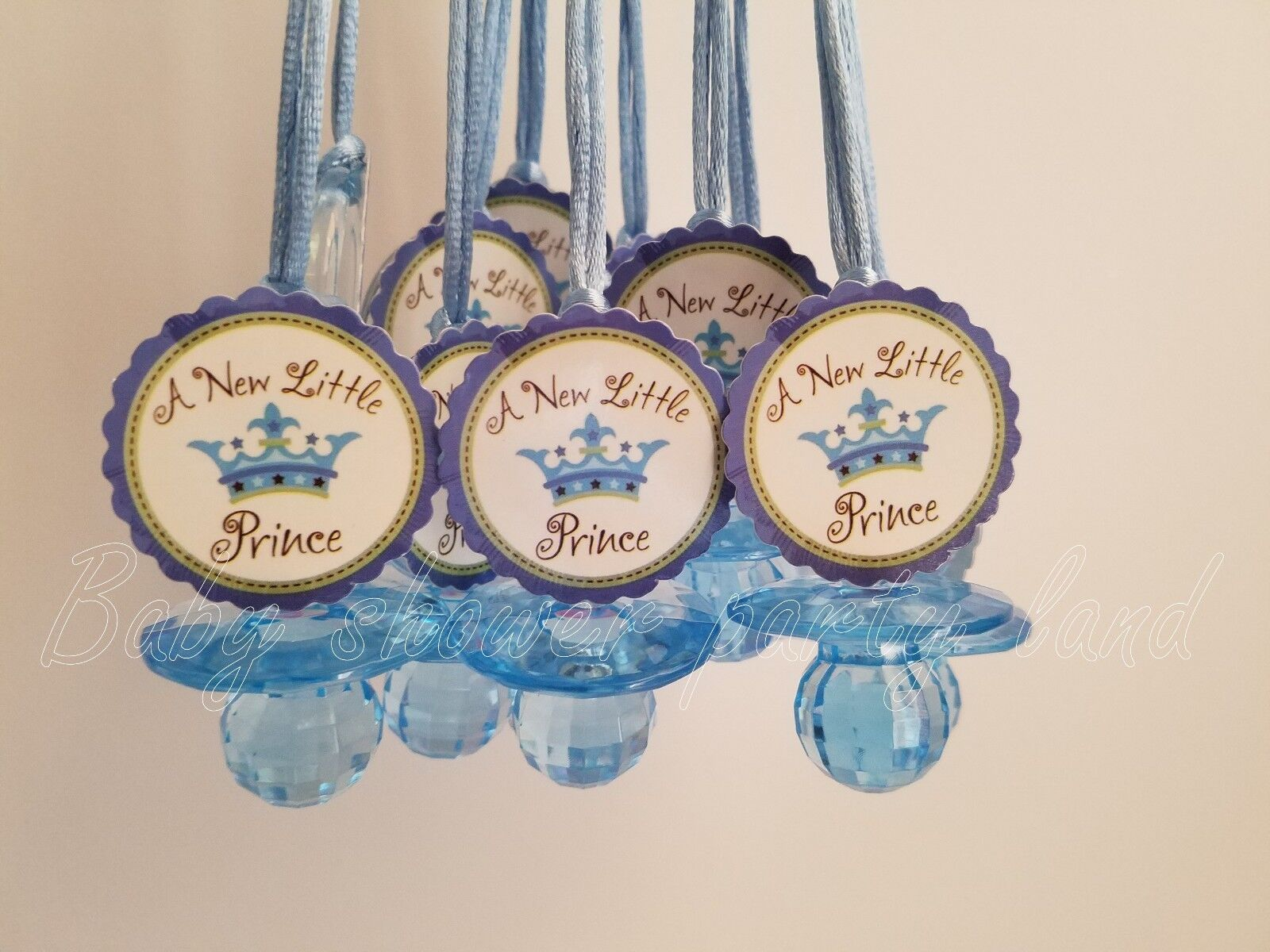 12 Prince Diamond cut Pacifier Necklaces Baby Shower Blue Fa