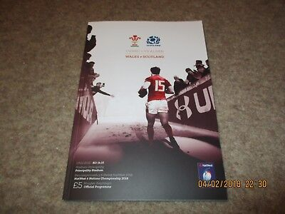 NatWest 6 Nations Wales v Scotland  Saturday 3rd February 2018 Match Programme.