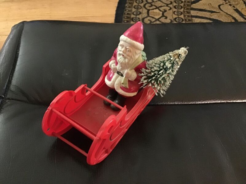 Vintage Celluoid Santa and sleigh