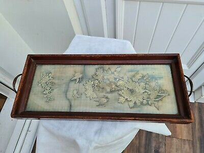 Antique floral Silk Embroidered  Handled Tray