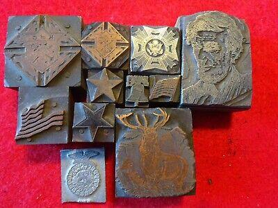 Vintage Printing Letterpress Printers Block Metal On Wood And All Metal