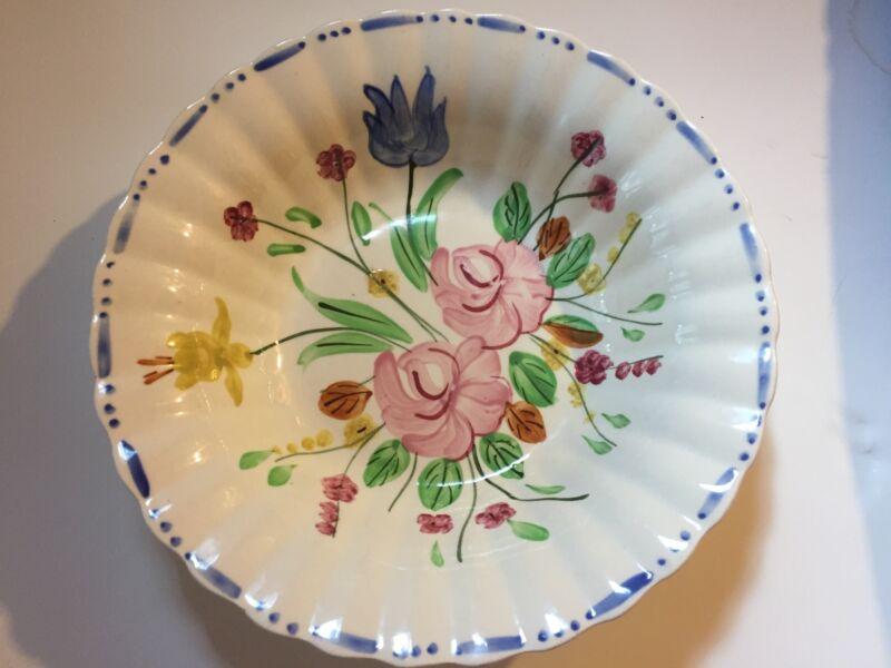 """Vintage Blue Ridge Hand Painted Large Floral Serving Bowl 9 1/4"""" Pretty Design"""