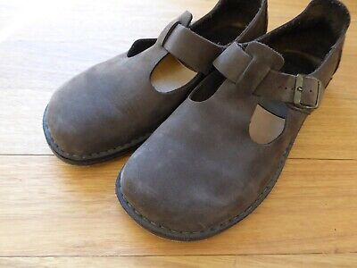 Broe & Co Italy Brown Oiled Leather Tstrap Duckfeet Shoes EUR38 RRP$560 BIG SALE