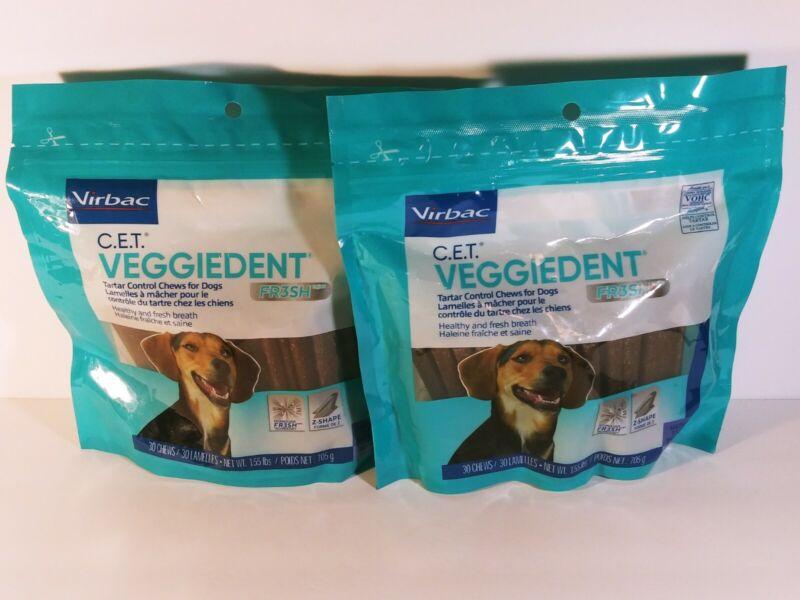 2x Virbac CET VeggieDent FR3SH Tartar Control Chews (MEDIUM) 30 each, 60 total