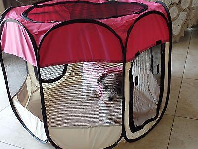 "57"". Pink  600D Oxford Portable Pet Puppy Soft Tent Playpen Dog Cat Crate Pet"