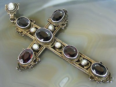 """Victorian Religious Antique Garnet Seed Pearl CROSS PENDANT Sterling Silver 3"""""""