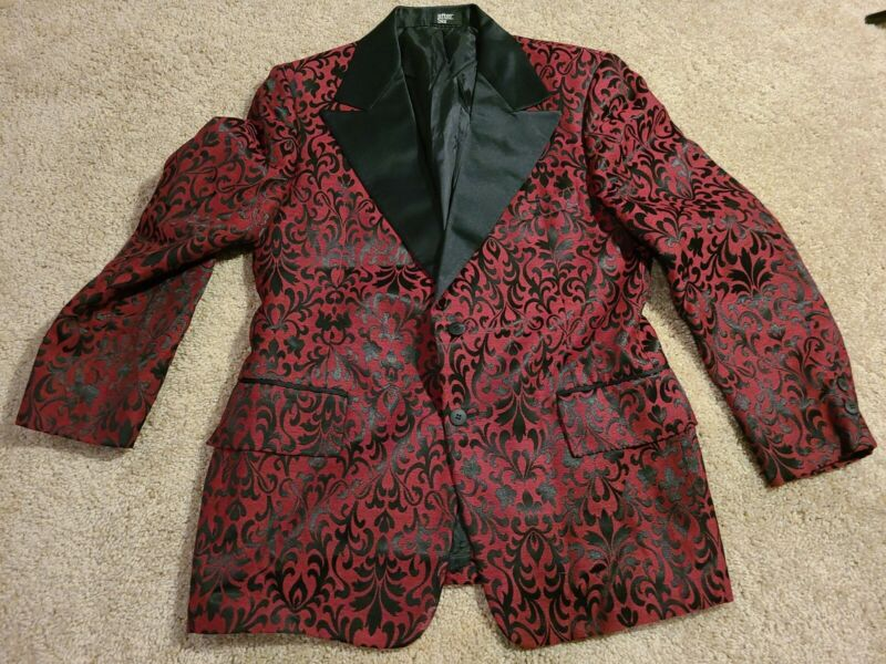 Vtg After Six Mens Red Black Smoking Jacket Tuxedo Rockabilly