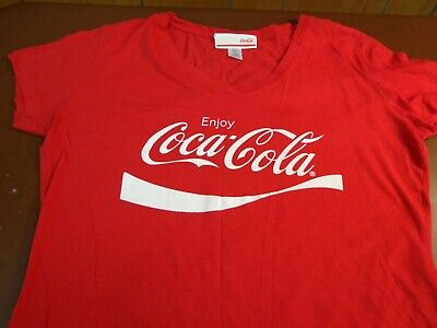 Coca Cola Women's Enjoy Coca Cola  Graphic  T-Shirt Red V- Neck   XL   N4